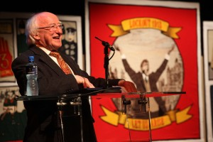 President Michael D Higgins at launch of Tapestry - this panel is one of many at Exhibition