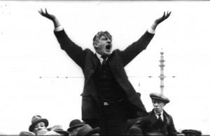 Jim Larkin addressing a meeting in 1924 after his return to Ireland after his release from Sing Sing Prison in the United States for 'sedition'