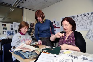 Cathy Henderson, Centre with Volunteers Elizabeth Brennan (left) and Mary Hunter working on the Bloody Sunday Panel of the 1913 Tapestry