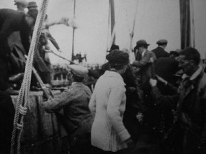 German Mausers being unloaded from the Asgard on Sunday July 26th, 1914