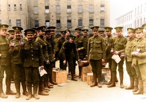 NCOs in the Royal Dublin Fusiliers discover the delights of Fray Bentos tinned corned beef