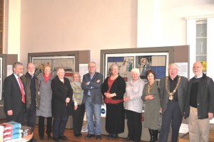 Lord Mayor Christy Burke, SIPTU  General President Jack O'Connor, artist Robert Ballagh and Volunteers who worked on the Tapestry with Mary Hunter on Robert Ballagh's left
