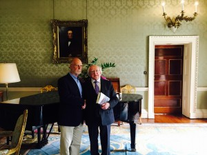 Meeting President Higgins at Aras to discuss A City in Civil War: Dublin 1921-1924