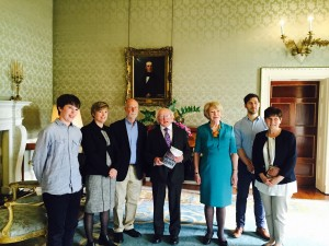 Meeting President Higgins and Sabena Higgins May 25th, 2015. Left to Right: Jack Cantillon, Katherine O'Donnell, Padraig Yeates, President Michael D Higgins, Sabena Higgins, Simon Yeates and Geraldine Regan