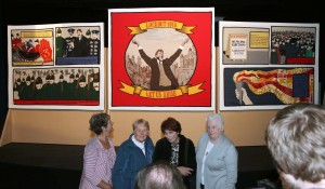 Left to Right: Mary O'Reilly, B, Bernie Murphy and Tess Flynn with the Centre Panel of the Tapestry at its  launch by President Michael D Higgins in Liberty Hall, September 1913